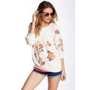 Wildfox Rose V-Neck Sweatshirt